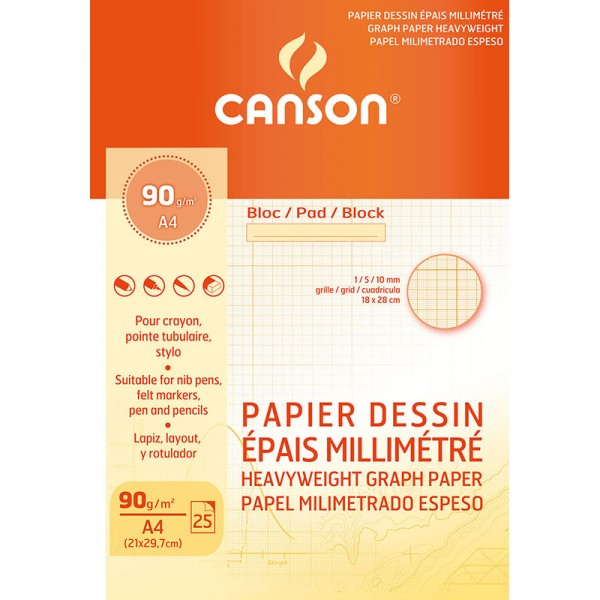 PAD CANSON MM 25 S  A4 DESSIN BISTRE 90G