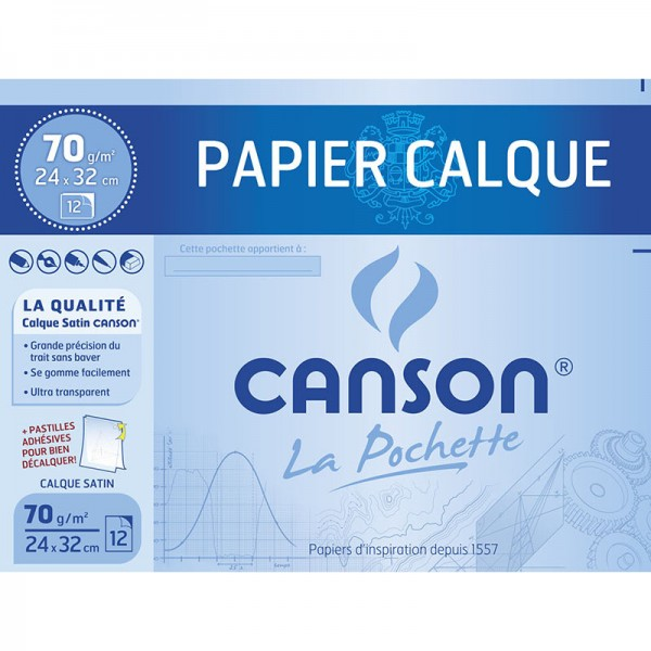 POCH CANSON TRACAGE 12S 24*32 CALQ 70G
