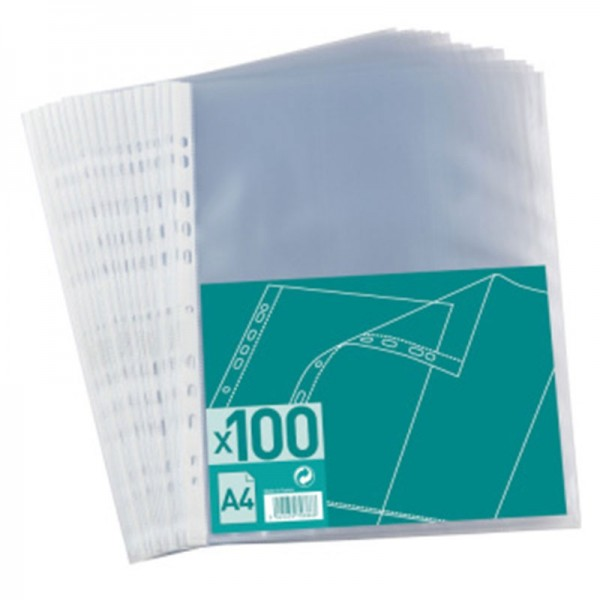 ELBA PUNCHED POCKETS  BAG OF 100 A4 PP40 EMBOSSED CLEAR